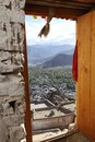 A view from the door of the tsemo monastery focus on the landcaspe leh is at top same palace hill called as hill Stock Photography