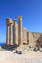 View of Doric Temple of Athena Lindia Stock Image