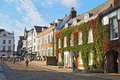 View down Cathedral Close in Exeter, Devon, UK Royalty Free Stock Photo