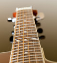 View down the fretboard of guitar Royalty Free Stock Photo