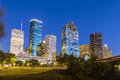 View on downtown houston by night in late afternoon with skyscraper Royalty Free Stock Image