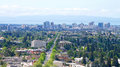 View of Downtown Oakland with Berkeley in the foreground Royalty Free Stock Photo