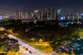 View of the Downtown Singapore skyline, night scene long exposur Royalty Free Stock Photo
