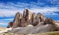 View of Drei Zinnen or Tre Cime di Lavaredo Royalty Free Stock Photo