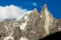 View of dru peak in chamonix alps france europe Stock Photos