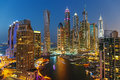 A view of dubai marina at dusk from the top Royalty Free Stock Images