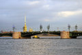 View of Dvortsovy bridge over the Neva river Royalty Free Stock Photo