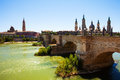 View from ebro river stone bridge and cathedral zaragoza aragon Royalty Free Stock Photography