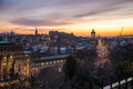 A view of Edinburgh from the Calton Hill, sunset