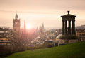 View of edinburgh city center from calton hill Royalty Free Stock Photography