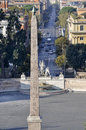 View of the egyptian obelisk in piazza del popolo at rome Royalty Free Stock Image