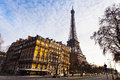View eiffel tower quai branly paris sunset Stock Images