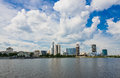 View of embankment yekaterinburg city russia Royalty Free Stock Image
