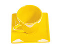 View on empty yellow coffee cup isolated Royalty Free Stock Photo