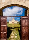 A view through the entrance gate of Panagia Kanakaria Church and Monastery in the turkish occupied side of Cyprus Royalty Free Stock Photo