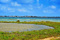 View of estany des peix lagoon in natural park of ses salines in formentera balearic islands spain Royalty Free Stock Photo