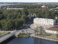 A view of the estuary of Vuoksi and the Gulf of Finland in the lookout tower in Vyborg Royalty Free Stock Photo