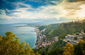 View of Etna from the town Taormina Royalty Free Stock Photo