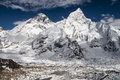 View of the everest and nuptse from kala patthar nepal circa october circa october in Stock Photo