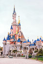 View of famous castle in the Disneyland Paris. France. Europe.