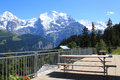 View at the famous mountain the jungfrau at grütschalp station in switzerland mountains mönch breithorn seen cable way to Stock Images