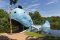 View of the famous road side attractions Blue Whale of Catoosa along the historic Route 66 in the State of Oklahoma, USA. Royalty Free Stock Photo