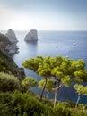 View on Faraglioni rocks from Capri island, Italy Royalty Free Stock Photo