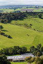 View of farm land and River Dove in Crowdecote Royalty Free Stock Photo
