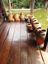 View at floating market ancient siam pots of Royalty Free Stock Images