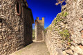 View form the inside of the medieval village of ricetto di candelo in piedmont used as a refuge in times of attack during the mid Royalty Free Stock Image
