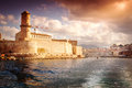 View of Fort St. Jean and the city of Marseille with the sea Royalty Free Stock Photo