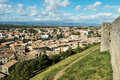 View from the fortress of the base city of carcassonne in aude department france seen form walled Royalty Free Stock Photos