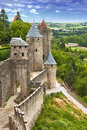 View fortress carcassonne france languedoc river aude old bridge Stock Photos