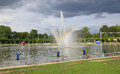 View of the fountain in Wroclaw, Centennial Hall, public garden, Poland Royalty Free Stock Photo
