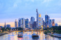 View of Frankfurt am Main skyline at dusk Royalty Free Stock Photo