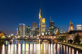 View of Frankfurt am Main skyline at dusk, Germany Royalty Free Stock Photo