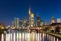 View of Frankfurt am Main skyline at dusk, Germany Royalty Free Stock Photo