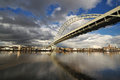 View Of Fremont Bridge with dramatic Clouds Stock Photos