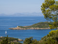 View from the french port cros island in mediterranean sea Royalty Free Stock Photos