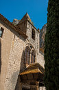 View of the front facade of the church Notre-Dame de Beauvoir,. Royalty Free Stock Photo