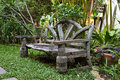 View of a garden bench vintage thai style Stock Photography