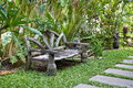 View of a garden bench vintage thai style Stock Image