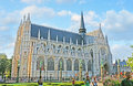The view from garden brussels belgium june best place to enjoy beauty of notre dame du sablon and beginning of ommegang procession Stock Images