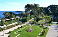 View on the gardens on villa Rothschild, French Riviera, France Royalty Free Stock Photo