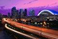 View at Gardiner Expressway in Toronto, Canada at night Royalty Free Stock Photo