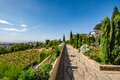 View of the Generalife gardens in Alhambra Royalty Free Stock Photo
