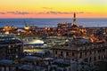 View of Genoa harbor at sunset Royalty Free Stock Photo