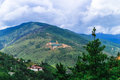 View of the Giant Buddha Dordenma statue from the city of Thimphu, Bhutan Royalty Free Stock Photo