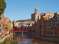 View of girona river onyar historical cityscape the iron bridge and the cathedral gerona Royalty Free Stock Photo