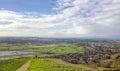View from Glastonbury Tor. Somerset, UK Landscape. Royalty Free Stock Photo